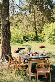 Several wooden chairs aroung table served with homemade food and drinks for outdoor dinner under pine tree on sunny summer day