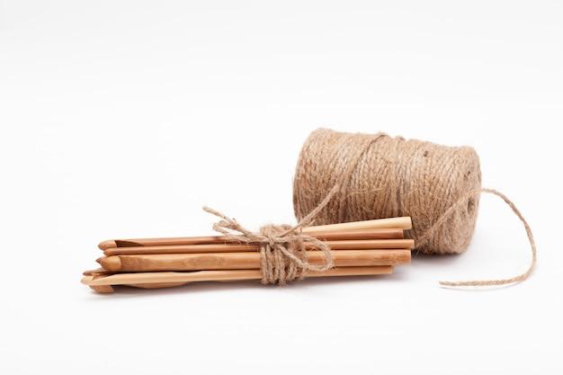 Several wooden hooks for knitting