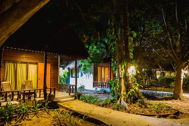 Several wooden houses built woods jungle at night with bungalows row lots of greenery vegetation