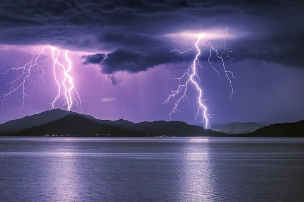 Severe thunderstorm on a mountain lake