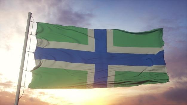 セバーンクロス旗、イギリス、風、空、太陽の背景に手を振っています。 3dレンダリング