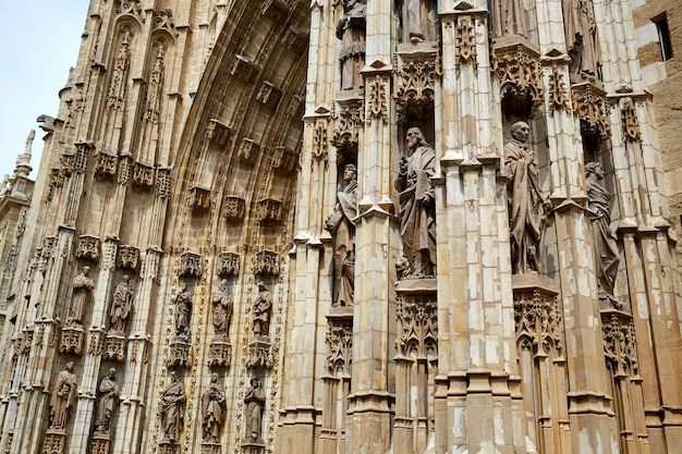 Seville cathedral facade in sevilla spain
