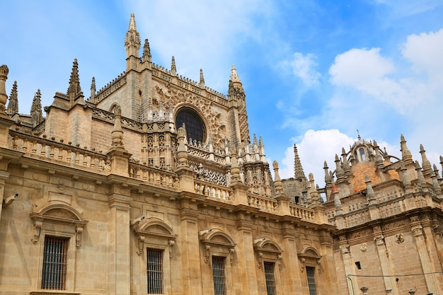 Seville cathedral facade in sevilla spain