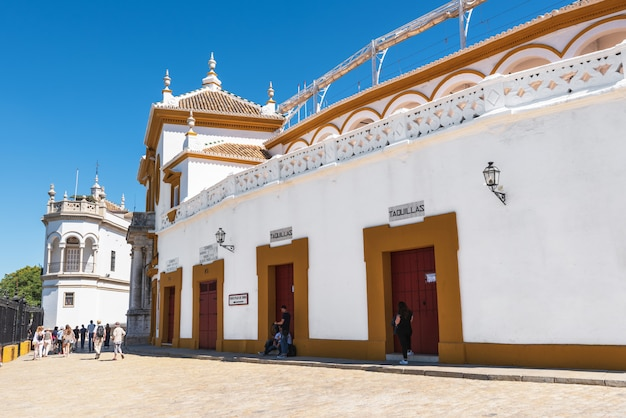 Seville real maestranza bullring plaza toros de sevilla in andalusia spain.