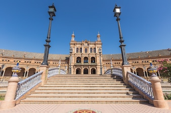 Seville Spain and plaza de espana in summer