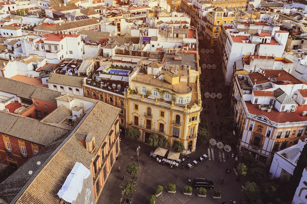 Seville, spain - january 3, 2019:  view of seville city from the giralda cathedral tower, seville (sevilla), andalusia, southern spain