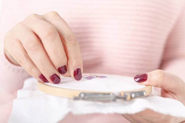 Sew or embroider using cross-stitche