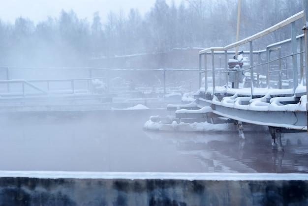 겨울철 하수처리장, 얼음 1차 침전조