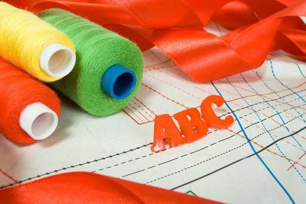 Sewing background: abc letters, threads and red ribbon