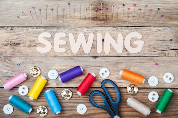 Sewing background with accessories for needlework