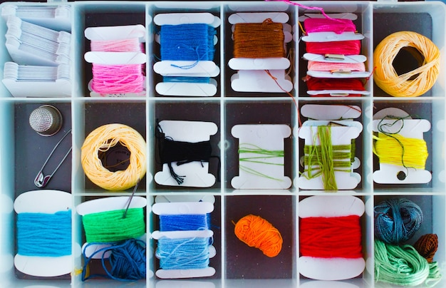Sewing box with all threads organized