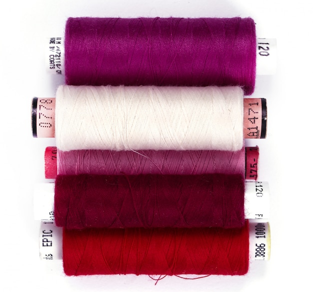 Sewing kit with cotton threads. top view