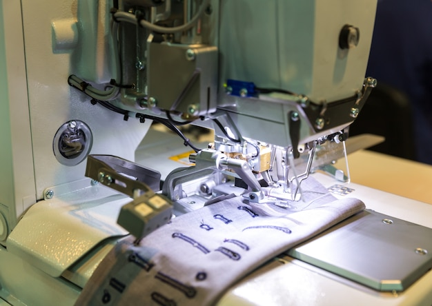 Sewing machine closeup, nobody, clothing sew