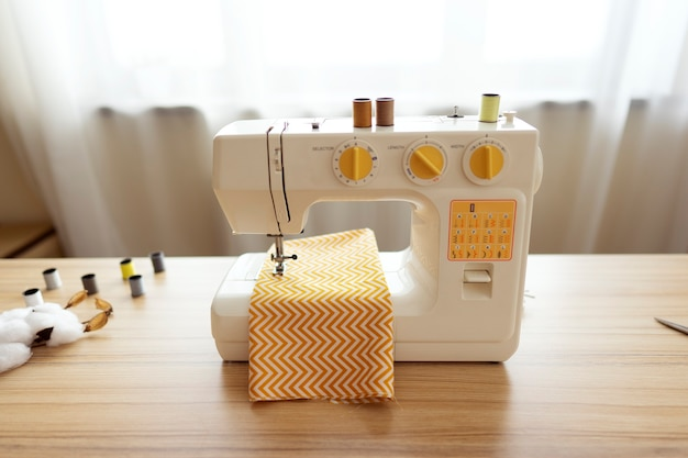 A sewing machine stands on a table