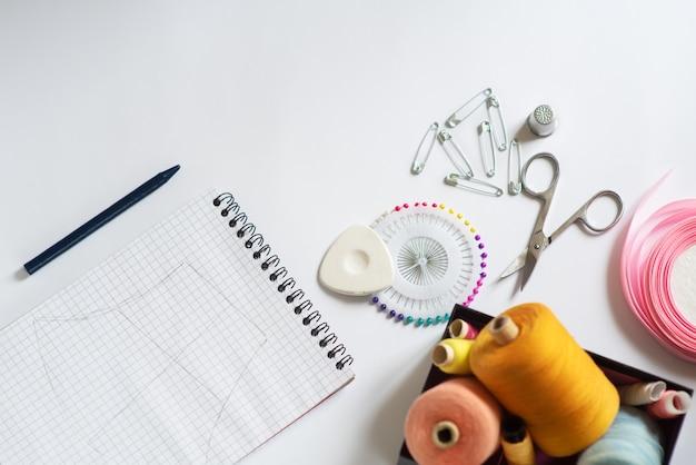 Швейные материалы - коробочка с нитками ярких цветов, розовая лента, хлопок, рулетка на белом фоне. рамка, место для текста