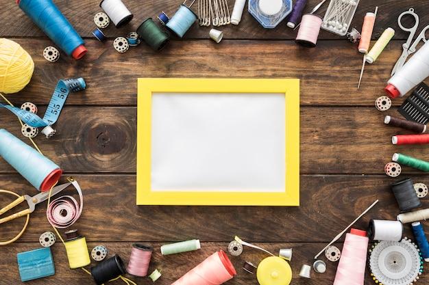 Sewing stuff around blank frame