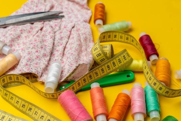 Sewing supplies flat lay