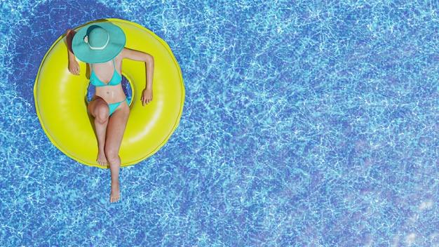 파란색 수영장에서 편안한 풍선 반지와 함께 ienjoying 섹시 3d 여자. 3d 일러스트레이터입니다.