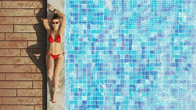 스파 resort.relaxing 개념의 수영장에서 휴식을 취하는 섹시한 3d 여성.