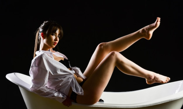 Sexy and confident. female intimate hygiene. erotic dreams and fantasy. skin care and waxing. perfect body with no cellulite. beauty and fashion. pedicure at salon. sexy woman. morning relaxation.