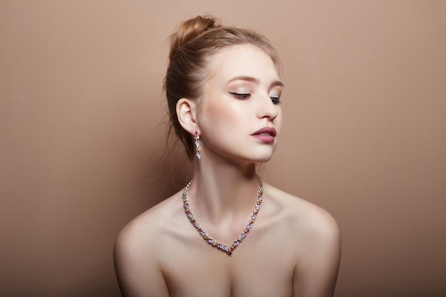 Sexy fashion young blonde girl hair jewelry neck