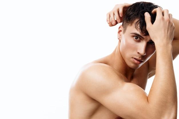 Sexy guy athlete with a pumpedup torso nude model