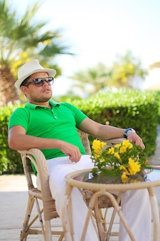 Sexy man on beach in summer