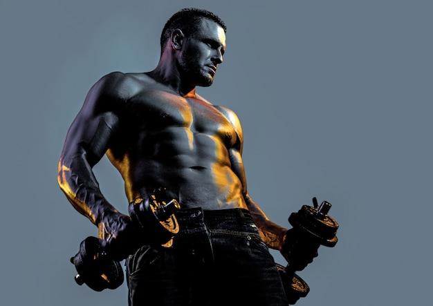 セクシーな筋肉質の体の強いフィットの男がダンベルで運動している男がウェイトを持ち上げる裸の裸の胴体
