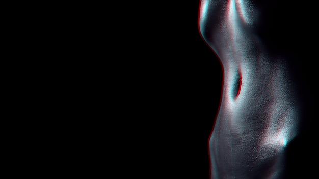 물 방울과 여자의 섹시 한 벌 거 벗은 젖은 몸. 마른 배