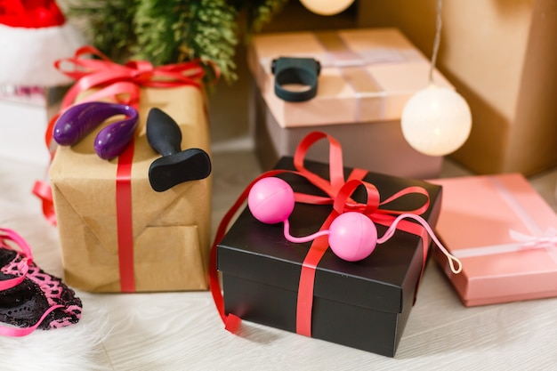 Sexy present for christmas with christmas tree.