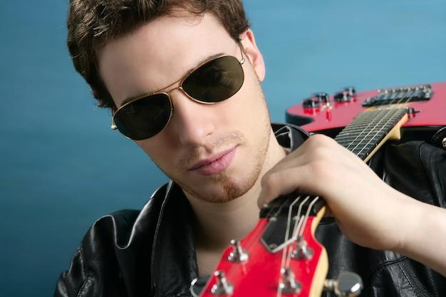 Sexy rock man sunglasses leather  jacket