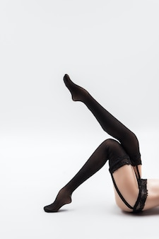 Sexy silicone doll female in black lace lingerie and stockings