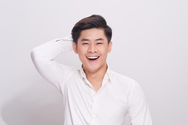 Sexy smiling business man wear white shirt