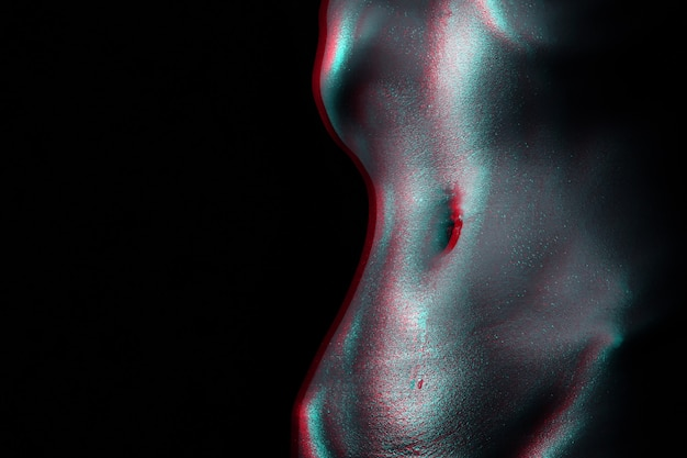 Sexy wet tummy of a girl with water drops on her skin. beautiful female waist. female nude figure. black and white with 3d glitch virtual reality effect
