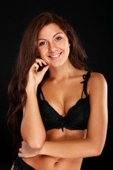 란제리에 섹시 한 여자
