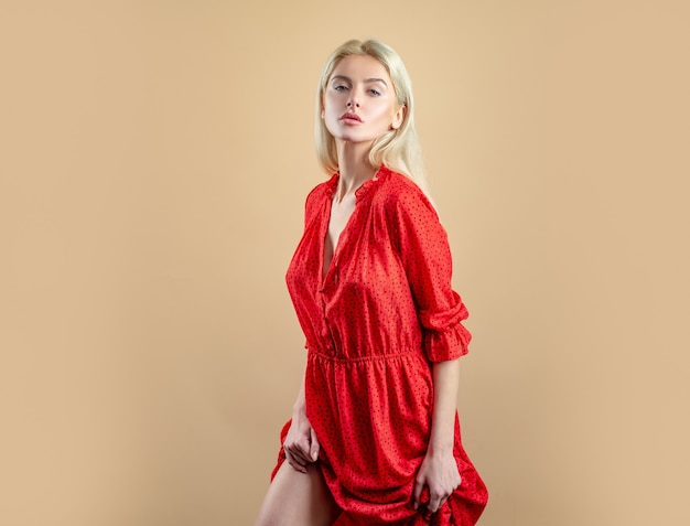 Sexy woman in red dress. sexy woman vogue. fashion outfit.