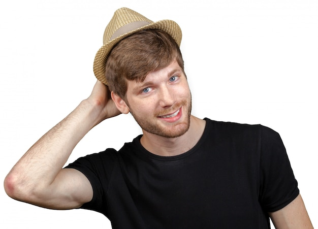 Sexy young man with hat