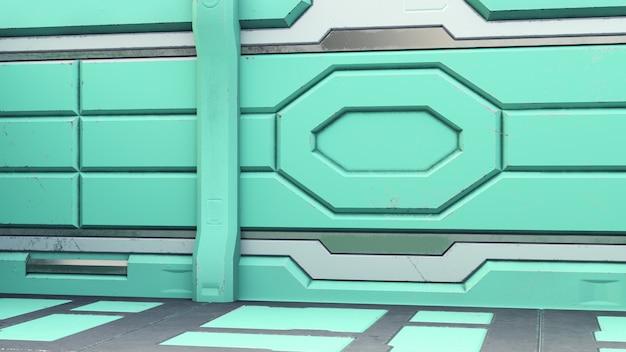 サイエンスフィクションインテリアルームsf宇宙船廊下オレンジ、3 dレンダリング