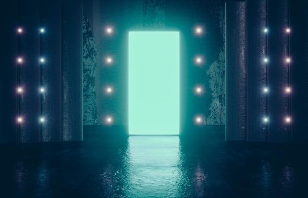 未来的なsf現代の空のステージ。輝く長方形のネオングリーン色の反射コンクリートの部屋。 3 dレンダリング。