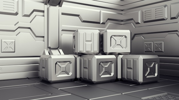 コンテナーが保管されるsf倉庫。コンテナーが保管されるsf倉庫。宇宙船の武器庫。 3dレンダリング