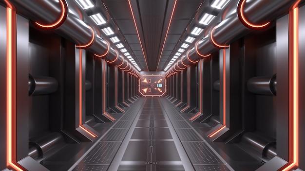 サイエンスの背景フィクションの室内の部屋のsfの宇宙船の廊下オレンジ