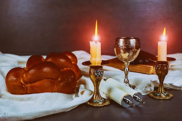 Shabbat shalom - traditional jewish ritual matzah, bread,