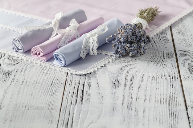 Shabby chic background with napkins and lavender