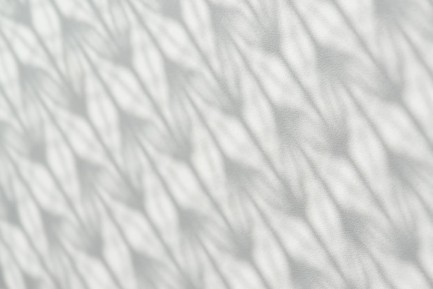 Shadow from patterned tulle falls on white wooden surface.