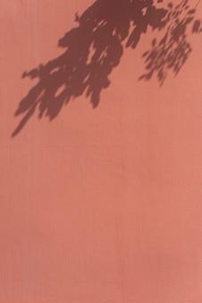 주황색 벽에 나뭇잎 그림자