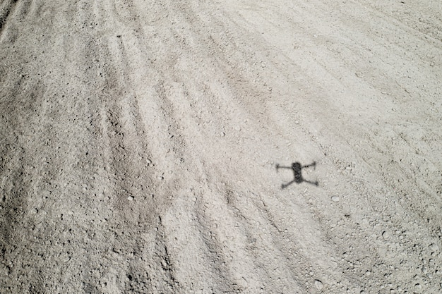 Shadow of a quadrocopter on the ground
