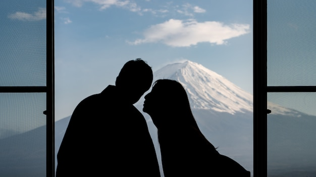 Shadow sweet couple at mt. fuji scene