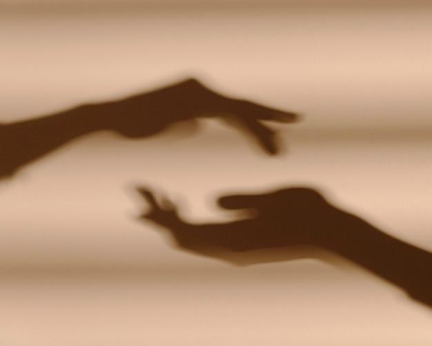 Тени рук на белой стене