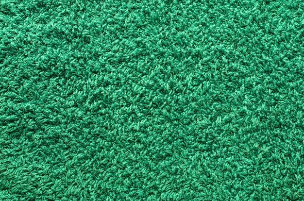 Shaggy green carpet
