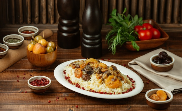 Shah plov, rice garnish with seasonal and dry fruits